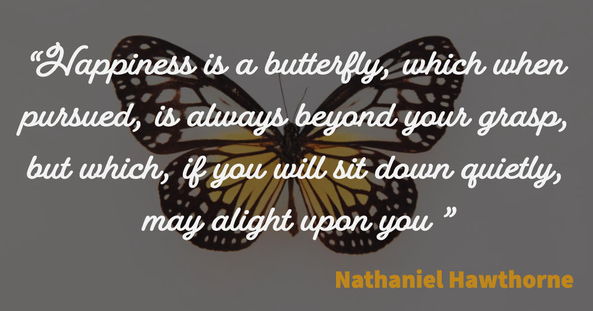 Happiness is a butterfly, which when pursued, is always beyond your grasp, but which, if you will sit down quietly, may alight upon you - Nathaniel Hawthorne