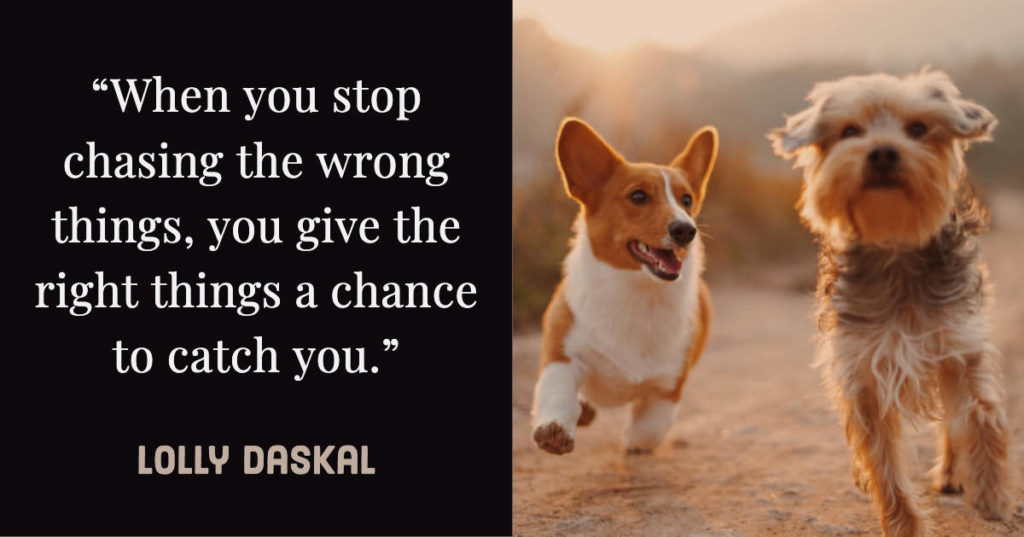 When you stop chasing the wrong things, you give the right things a chance to catch you - Lolly Daskal